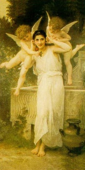 Young lady with two angels  Fine-Art Print