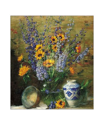 Delphiniums and Chinese Vase  Fine-Art Print