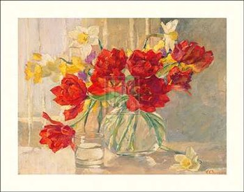 Red Tulips and Daffodils  Fine-Art Print